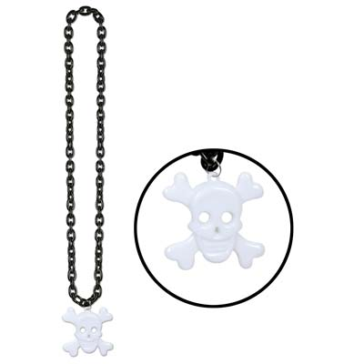 Chain Beads w/Skull & Crossbones Medal (Pack of 12) halloween beads, skull beads, sckull and bones, chain beads with skull, pirate beads