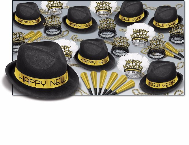 black and gold 1920s themed new years eve party kit for 50 people