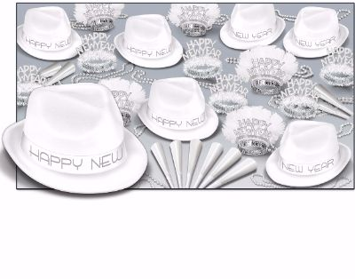snow white new years eve party kit with hats, tiaras, and party horns