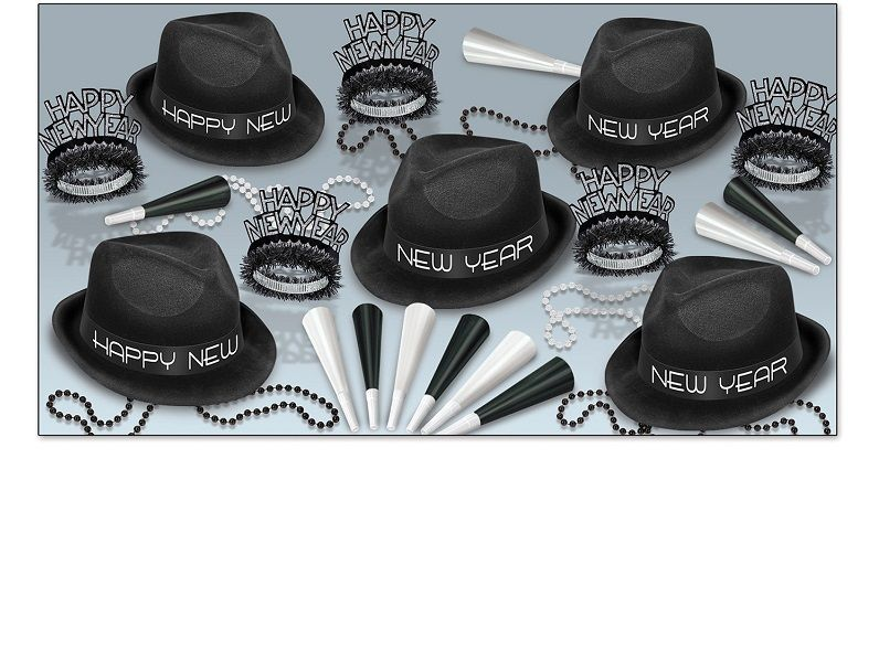 Chairman Asst for 10 Chairman Assortment, party favor, hat, tiara, beads, horns, black and white, new years eve, wholesale, inexpensive, bulk
