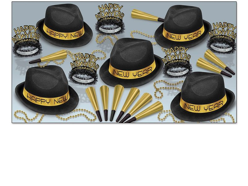 Chairman Gold Asst for 10 Chairman Gold Assortment, black and gold, party favor, new years eve, wholesale, inexpensive, bulk, hat, tiara, horn, beads