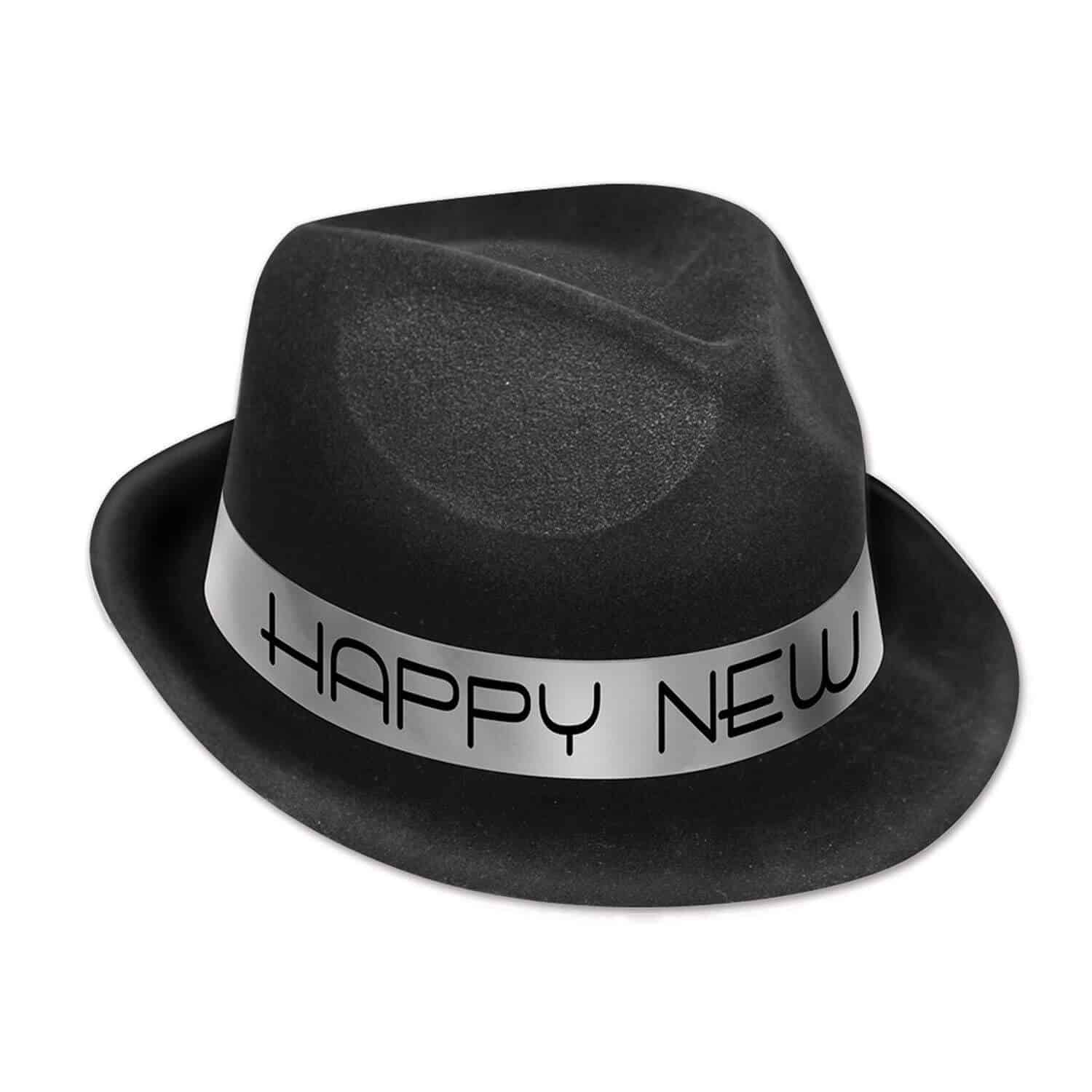 black velour happy new year 1920s party hat with a silver happy new year foil band