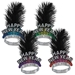 bright colored happy new year tiaras with a black feather