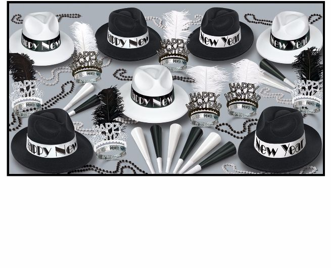 black and white new years eve party kits with 1920s style fedoras