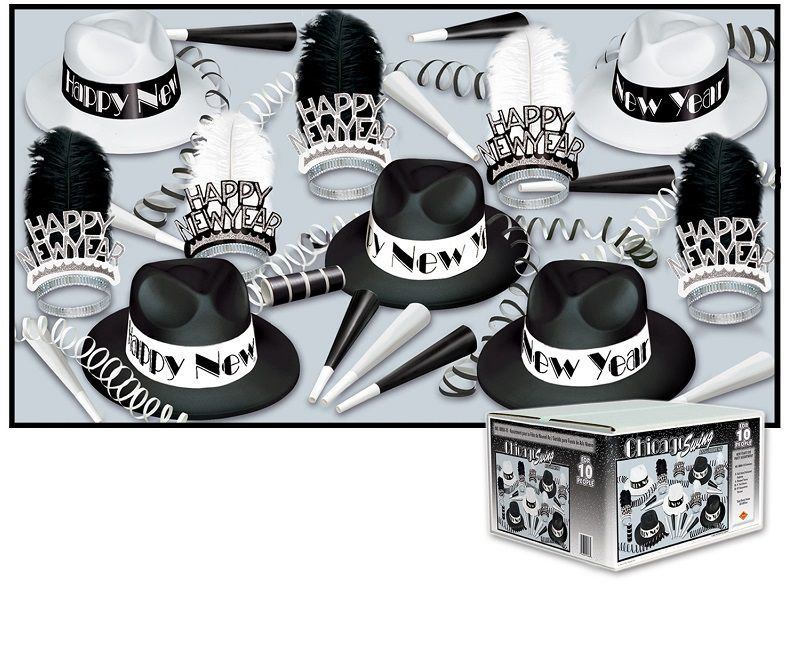 Chicago Swing Asst for 10 Chicago Swing Assortment, swing, black and white, party favors, fedora, hat, tiara, horns, serpentine, wholesale, inexpensive, bulk, new years eve