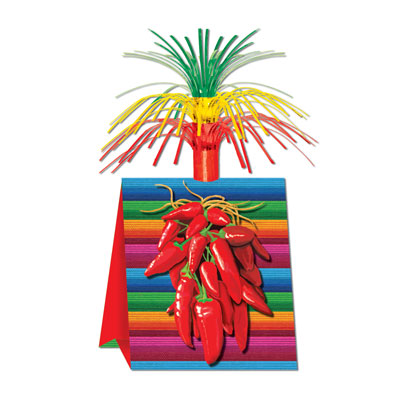 Chili Pepper Centerpieces has a bottom of bright colors with chili peppers and a cascaded top.