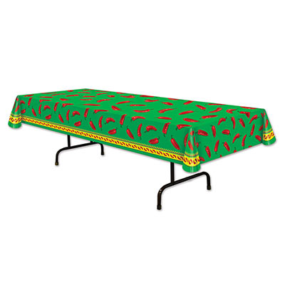 Chili Pepper Tablecover with a solid green background and red chilis.