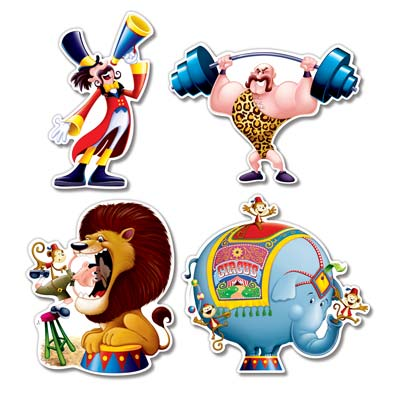 Circus Cutouts with words strongest man, the ring leader, lion and elephant with a cartoon look.