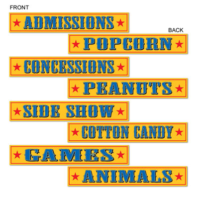 Circus Sign Cutouts with a yellow background and writing in blue of Animals, Games, Cotton Candy and more.