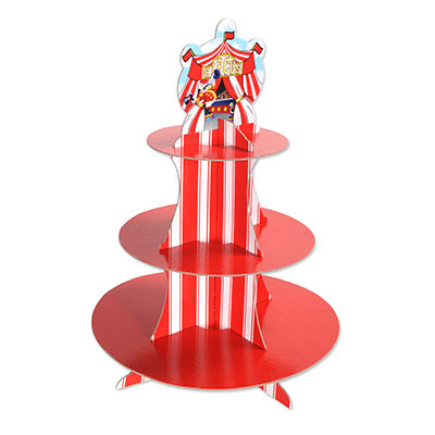 Circus Tent Cupcake Stand made of cardstock material including carnival stripes and a carnival tent at the top.