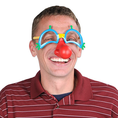 Plastic Clown Glasses with Nose