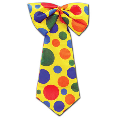 Yellow Clown Tie with colorful poke a dots