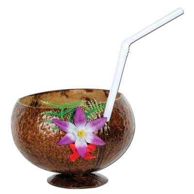 Coconut cup with silk flowers and a white straw.