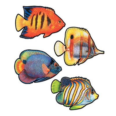 Colorful Coral Reef Fish Cutouts Wall Decorations