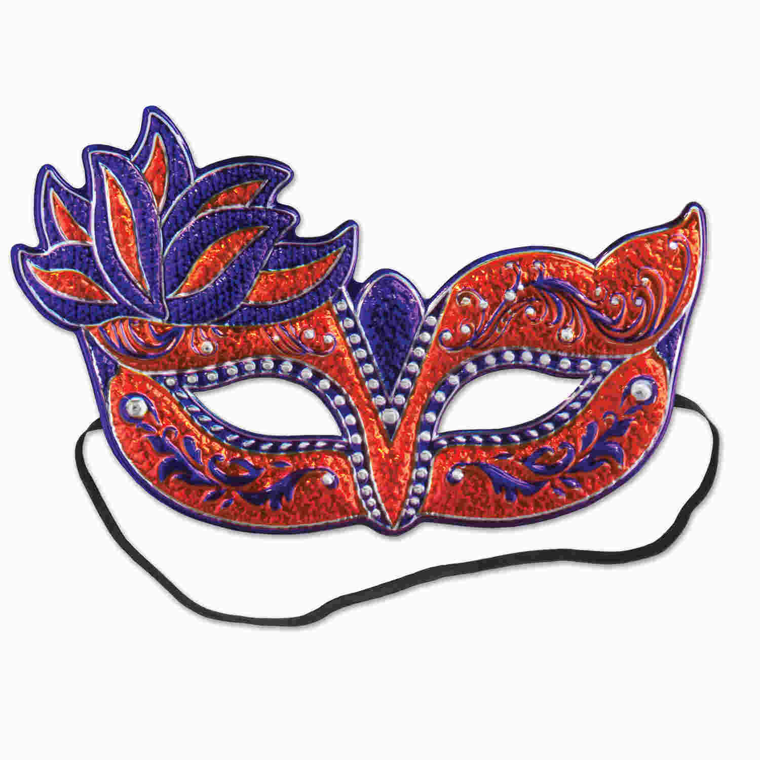 Red and purple intricate styled Mardi Gras mask.