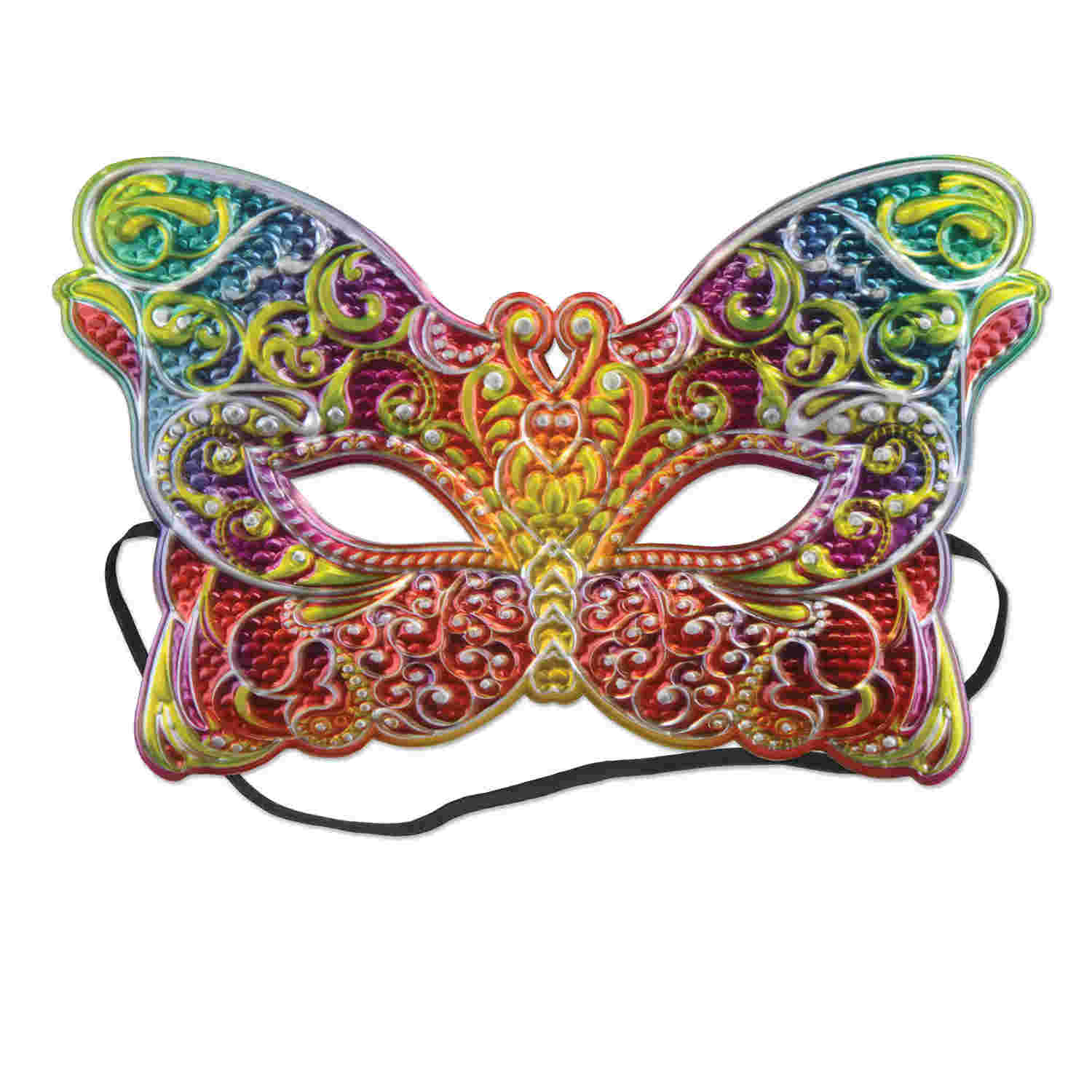 Butterfly shaped multi-colored mask with elastic attached.