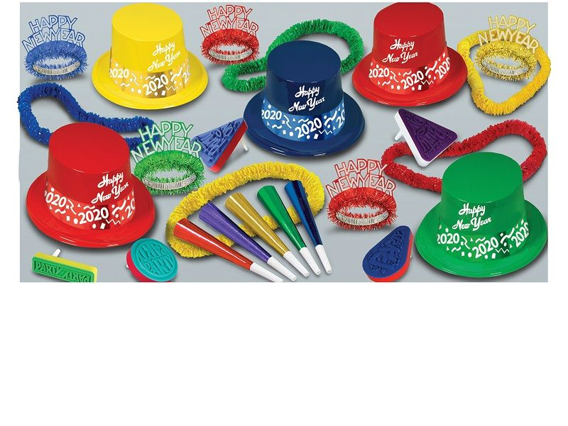 Countdown - New Years Party Kit for 50 Assortment, NYE, Party, Favor, multi color, wholesale, inexpensive, bulk, hats, tiaras, leis, horns, noisemakers