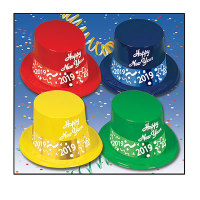 "Blue, green, red and yellow toppers with the words ""Happy New Year"" printed in white on the front and a band printed of confetti with this year."