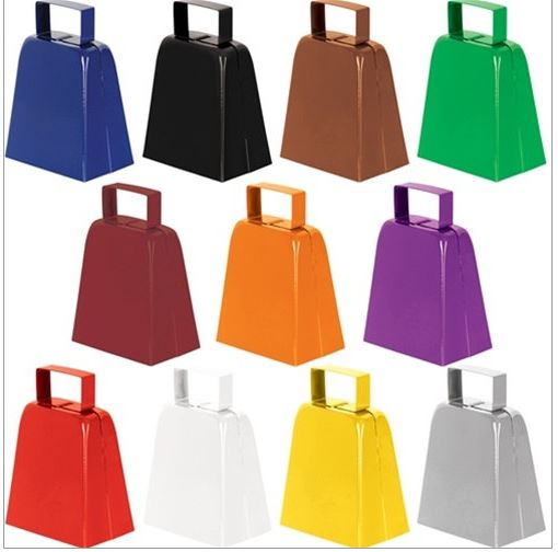 Various color options of cowbells with bell included.