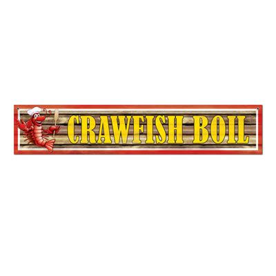 "This banner shouts ""Crawfish Boil"" with a crawfish on the left with cooking supplies."