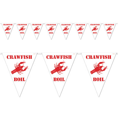Red Lettering Crawfish Boil Pennant Banner