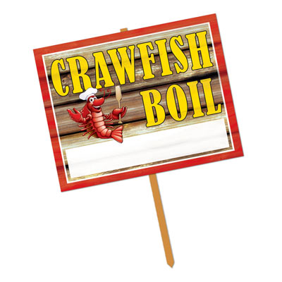 "Crawfish Boil Yard Sign including the words ""Crawfish Boil"" with a crawfish including chef supplies and a white personalize area to include the date and time."