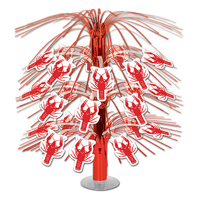 Crawfish Cascade Centerpiece with crawfish icons attached to red metallic material.