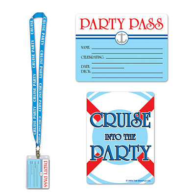 Cruise Ship Party Pass lanyard with a blue lanyard and badge attached.