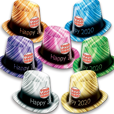 Multi-Colored Custom Printed 2020 New Years Eve Party Hats