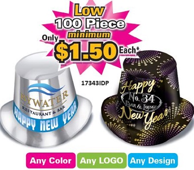 fully customizable foil happy new year party hats