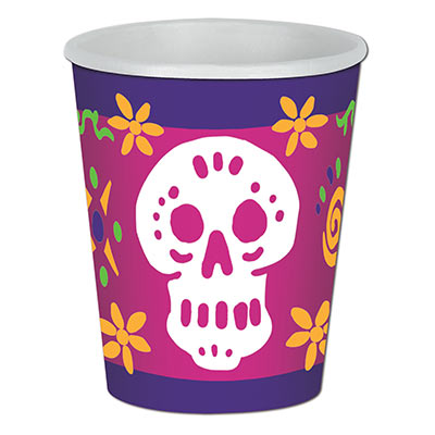 Day Of The Dead Beverage Cups (Pack of 12) Day Of The Dead Beverage Cups, day of the dead, halloween, skull, wholesale, inexpensive, bulk