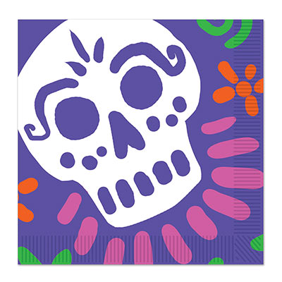 Day Of The Dead Luncheon Napkins (Pack of 192) Day Of The Dead Luncheon Napkins, napkins, day of the dead, halloween, skull, wholesale, inexpensive, bulk
