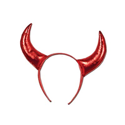 Red headband with plush devil horns attached.