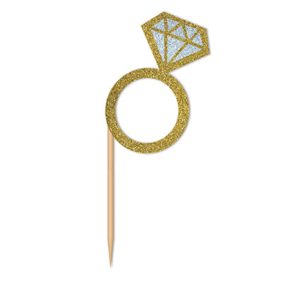 Card stock prismatic ring attached to a toothpick.
