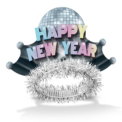 Happy New Year tiaras with a 1970s disco ball in the design
