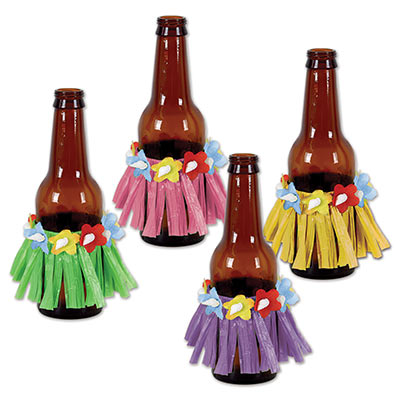Beer bottle hula shirts made of plastic material in green, pink, purple and yellow including flowers.