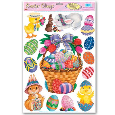 Easter designed plastic clings with chicks, eggs and bunnies.