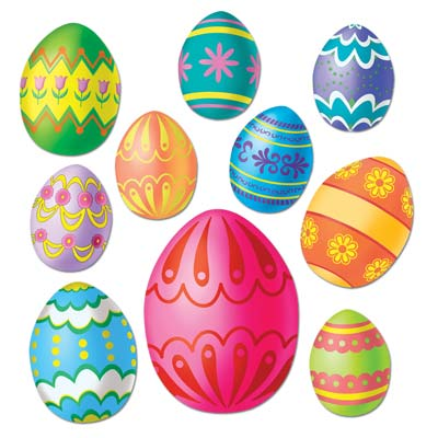 Assorted designed Easter eggs in decorative colors printed on card stock material.