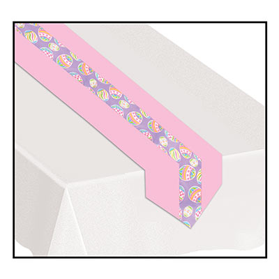 Pink table runner with a purple center and decorative Easter eggs.