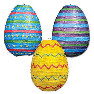 Decorative paper Easter Egg lanterns for decoration on ceilings.
