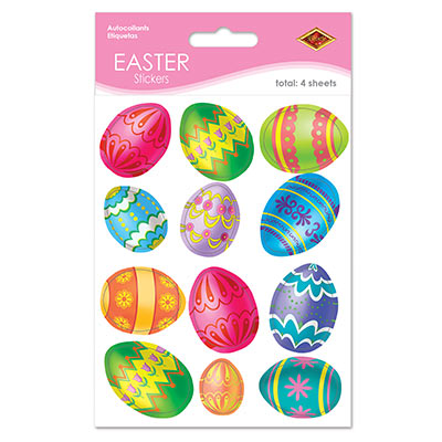 Sticker material with assorted designed Easter eggs.
