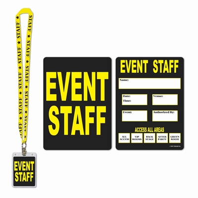 Black and yellow event staff identification card and lanyard.