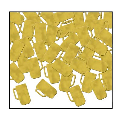 Gold Beer Mugs Confetti
