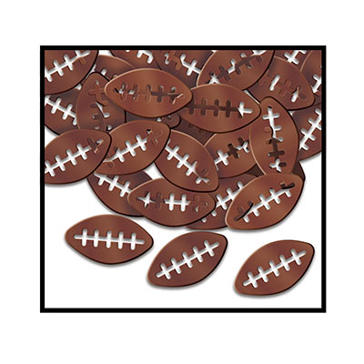 Metallic confetti shaped as footballs with  the threads cut out.
