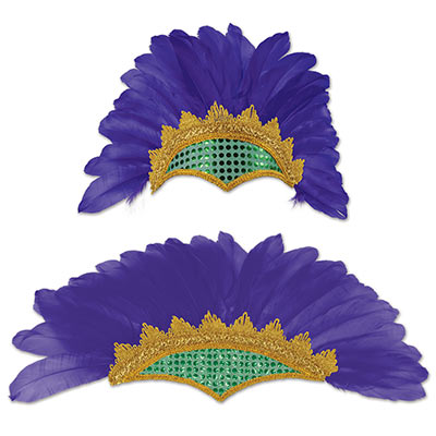 Headband with purple feathers including green and gold accents.
