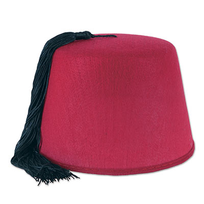 Fez hat covered in felt material with a black tassel.