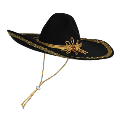 Felt Black Sombrero with Gold Trim