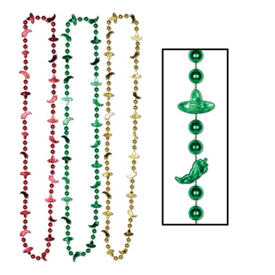 Fiesta Beads with round small beads, chili peppers, and sombreros in red, green and gold.