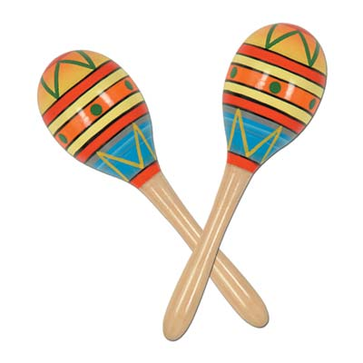 Fiesta Fun Party Maracas printed with bright colors.