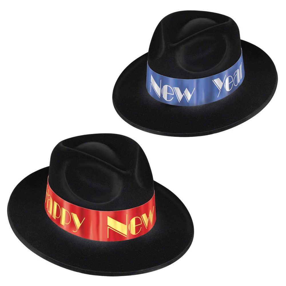 black fedora hats with a red and blue happy new year band, perfect for a fire & ice themed party